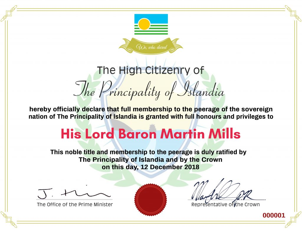 Ladyship & Lordship Certificate