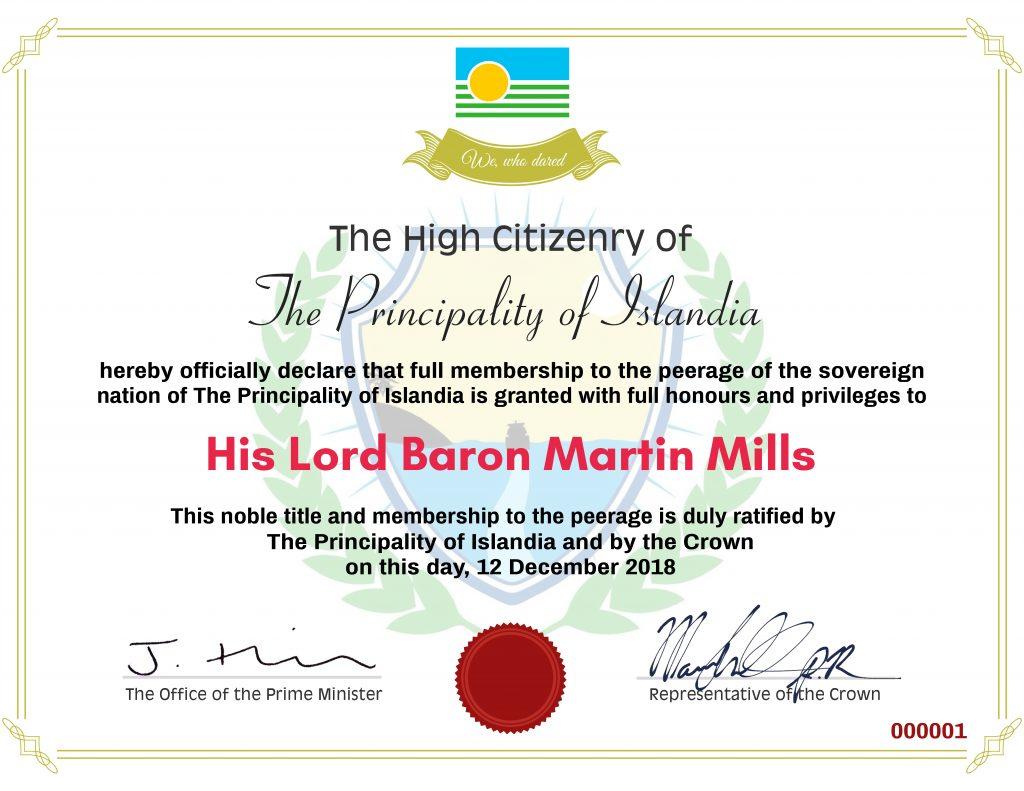 Ladyship & Lordship Certificate